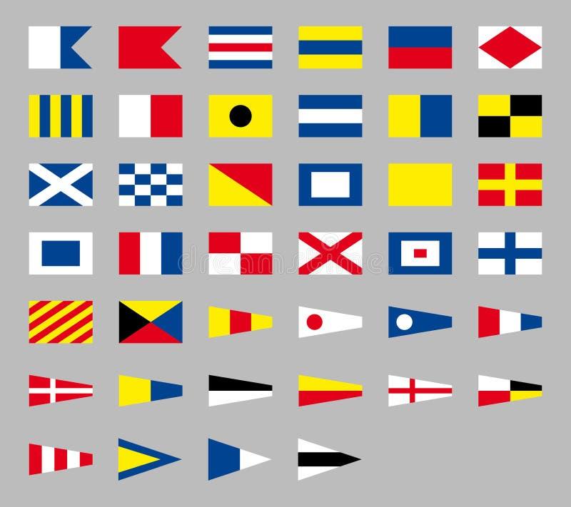 Bandiere nautiche del segnale marittimo internazionale, isolate su fondo grigio illustrazione vettoriale