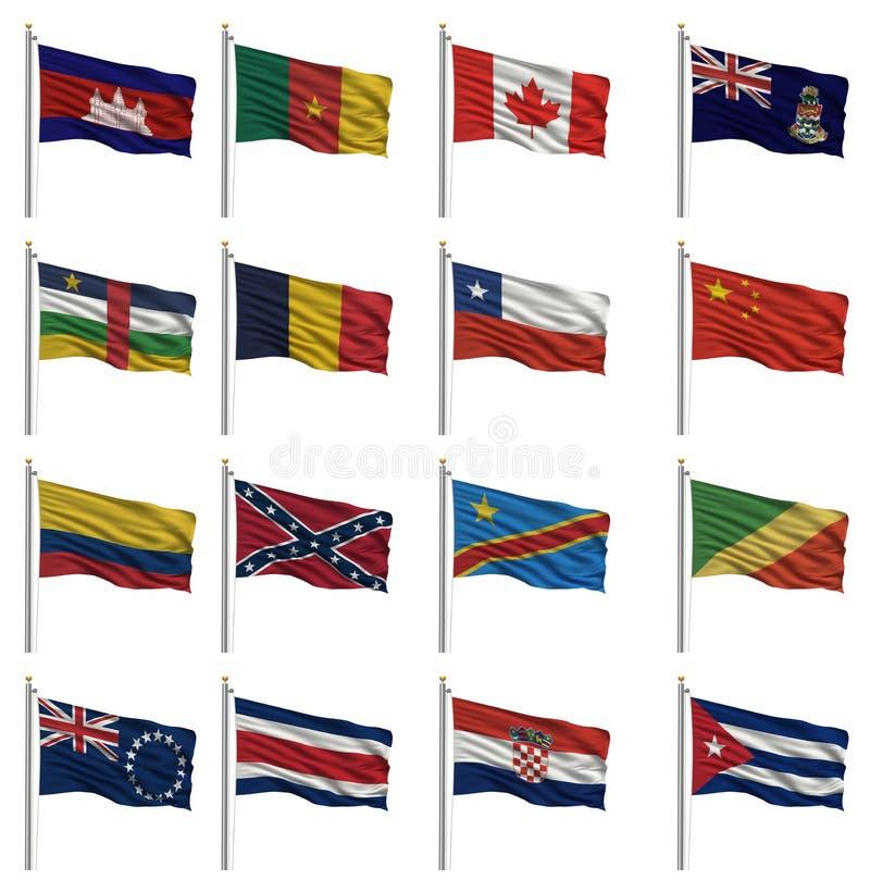 Bandiere nazionali con la lettera C illustrazione vettoriale