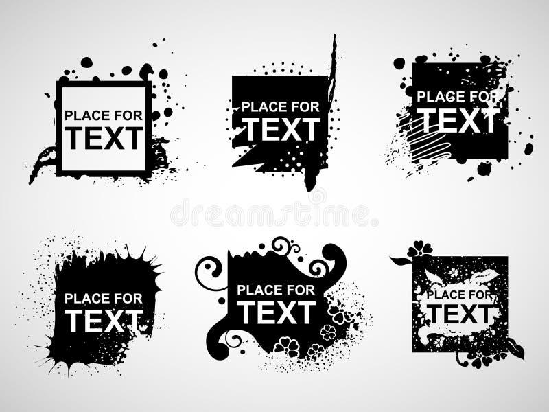 Bandiere nere di Web del grunge illustrazione di stock
