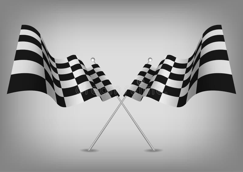Bandiere a quadretti che corrono simbolo su bianco illustrazione di stock