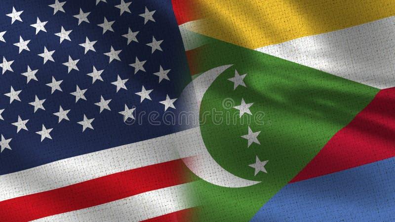 Bandiere realistiche delle Comore e degli S.U.A. mezze insieme illustrazione di stock