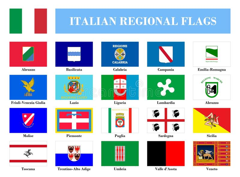 Bandiere regionali italiane royalty illustrazione gratis