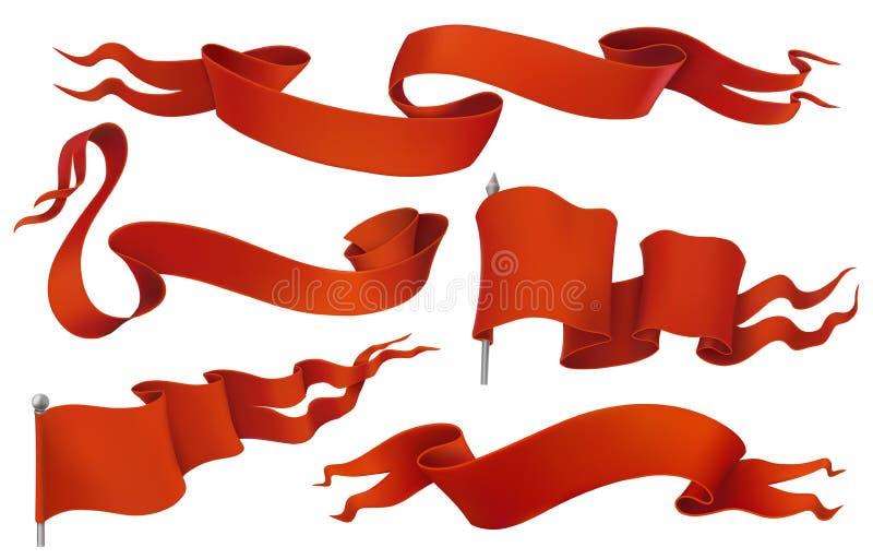 Bandiere rosse e nastri Insieme d'annata dell'icona di vettore illustrazione vettoriale
