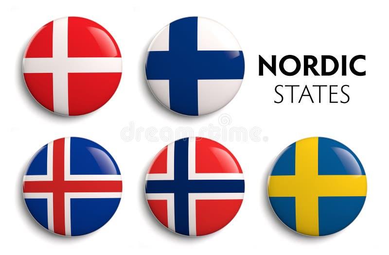 Bandiere scandinave nordiche illustrazione vettoriale