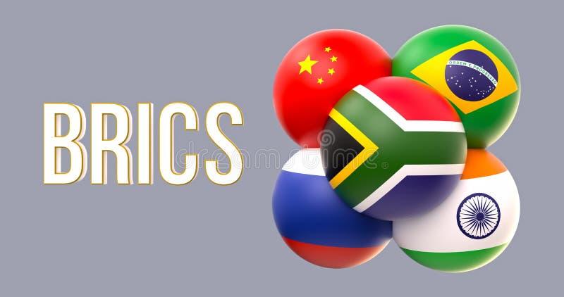 Bandiere sferiche di BRICS, forma del mazzo, conduzione di RSA illustrazione vettoriale