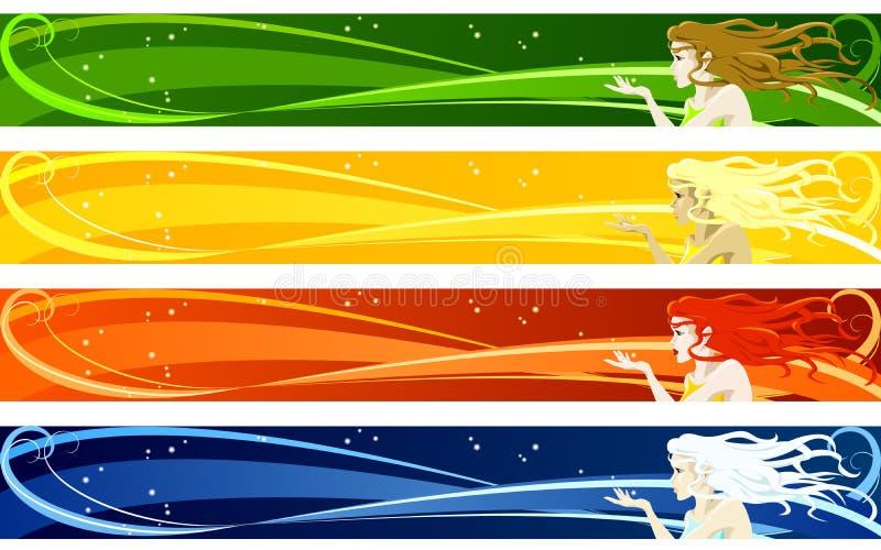 Bandiere stagionali illustrazione di stock