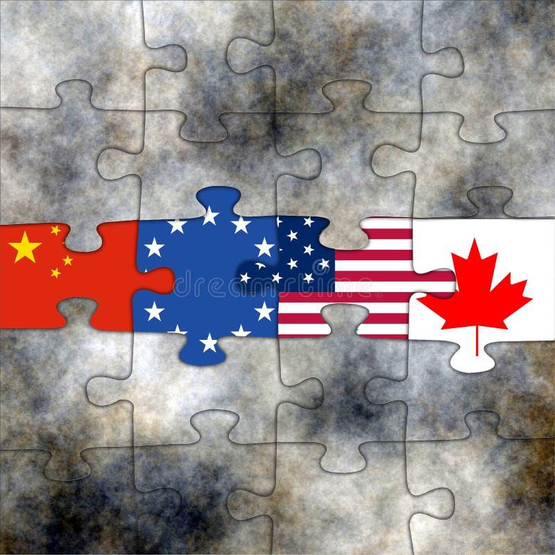 Bandiere sul puzzle illustrazione vettoriale