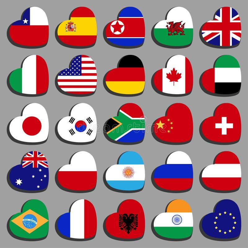 Bandiere superiori messe sotto forma di un cuore, ad angolo immagine stock libera da diritti