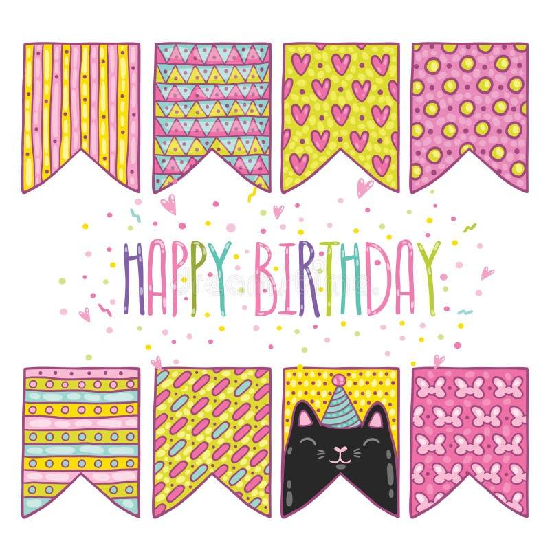 Bandiere sveglie di festa di buon compleanno del fumetto con il gatto illustrazione vettoriale