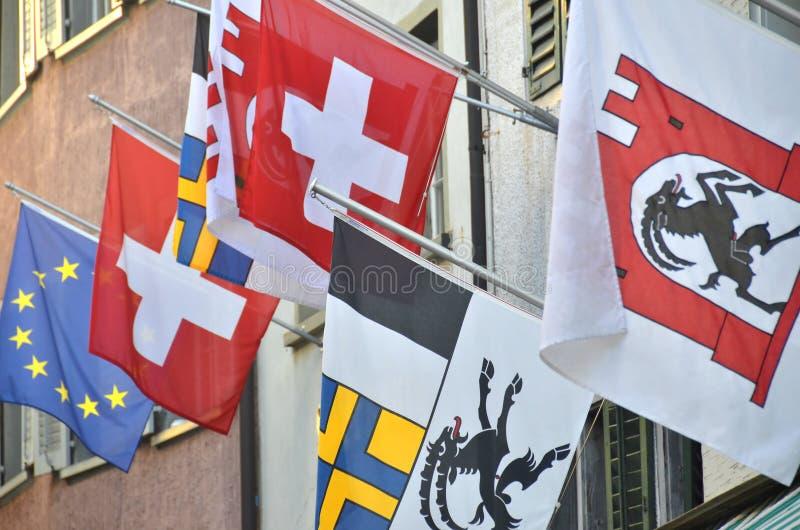 Bandiere Svizzere Immagine Stock Libera da Diritti