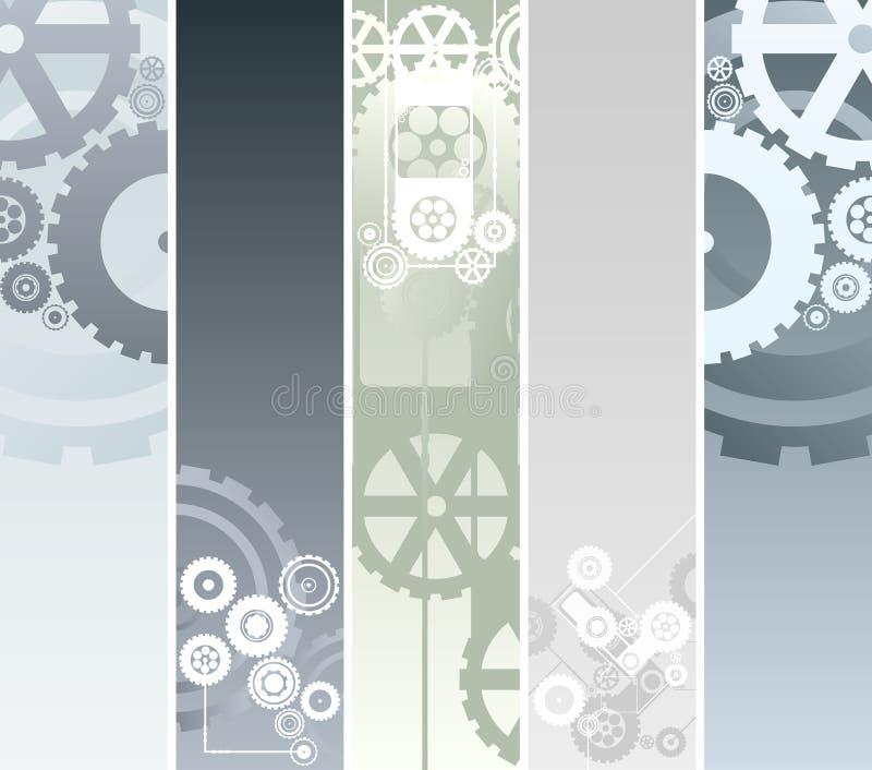 Bandiere tecnologiche e meccaniche illustrazione vettoriale