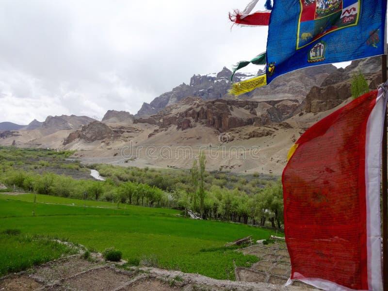Bandiere tibetane di preghiera che fluttuano nel vento fotografia stock