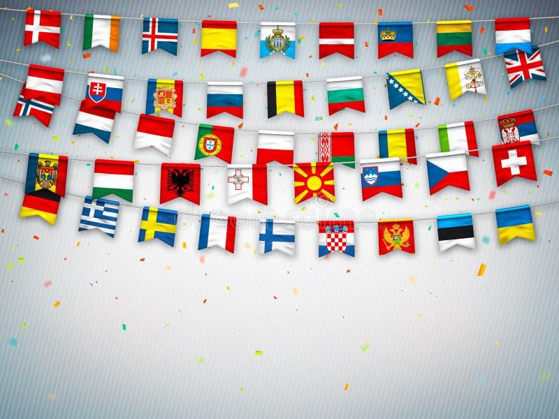 Bandiere variopinte dei paesi differenti dell'Europa con i coriandoli su fondo grigio Ghirlande festive dell'internazionale royalty illustrazione gratis