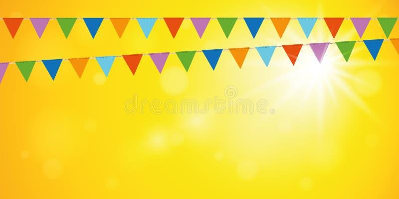 Bandiere variopinte del partito su fondo soleggiato giallo illustrazione vettoriale