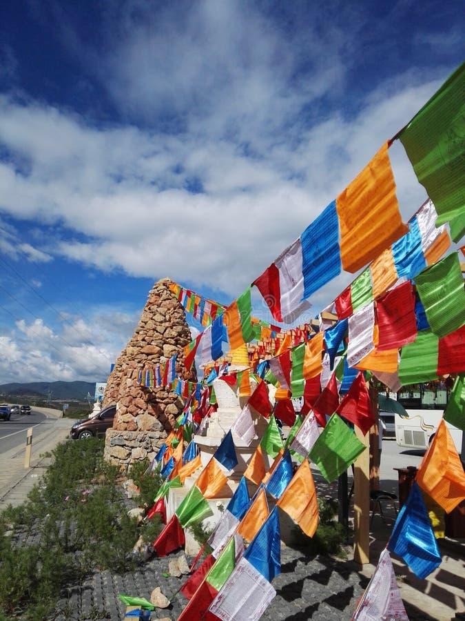 bandiere variopinte della Shanggri-La immagine stock libera da diritti