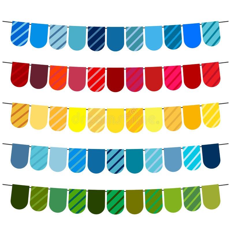 Bandiere variopinte e ghirlande della stamina per la decorazione illustrazione vettoriale