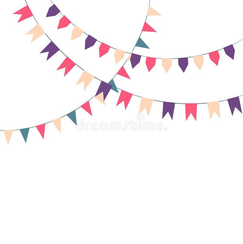 Bandiere variopinte festive sveglie illustrazione vettoriale