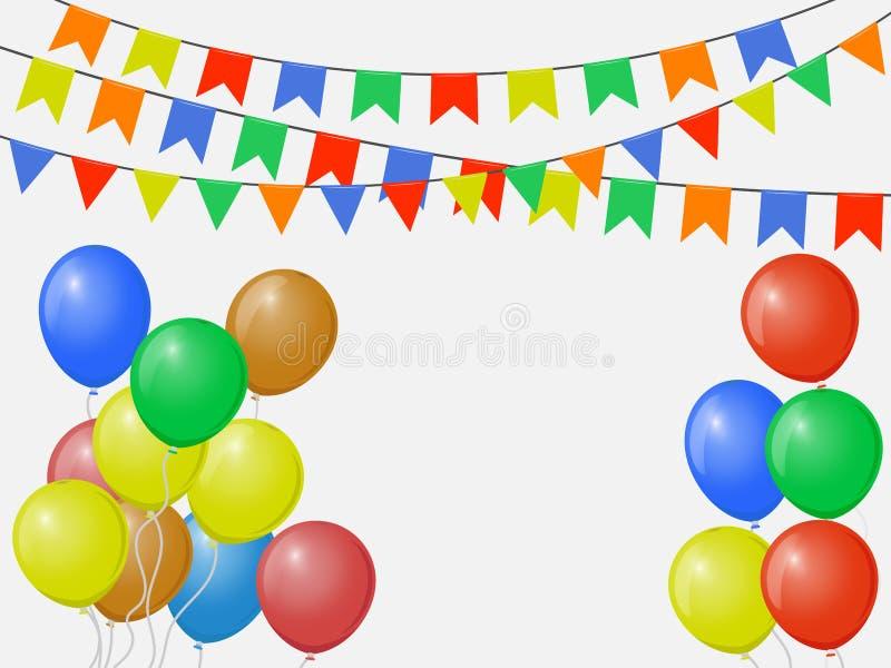 Bandiere variopinte multicolori festive, ghirlande di stamina isolate su fondo bianco con i palloni Modello di vettore illustrazione vettoriale