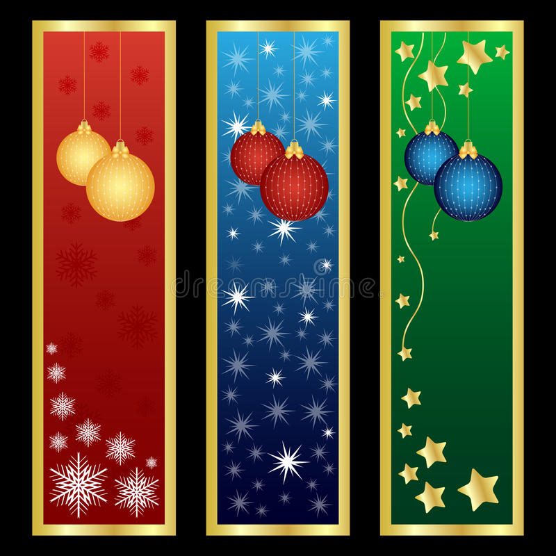 Bandiere verticali di natale illustrazione vettoriale