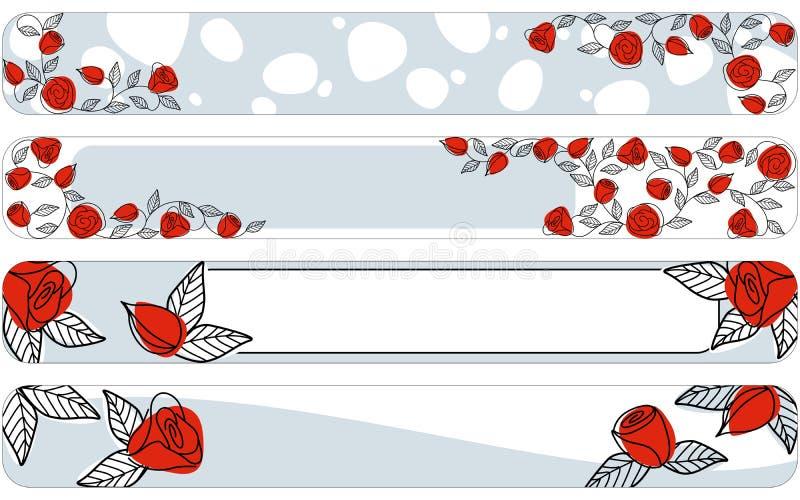 Bandiere verticali disegnate a mano classiche con le rose illustrazione vettoriale