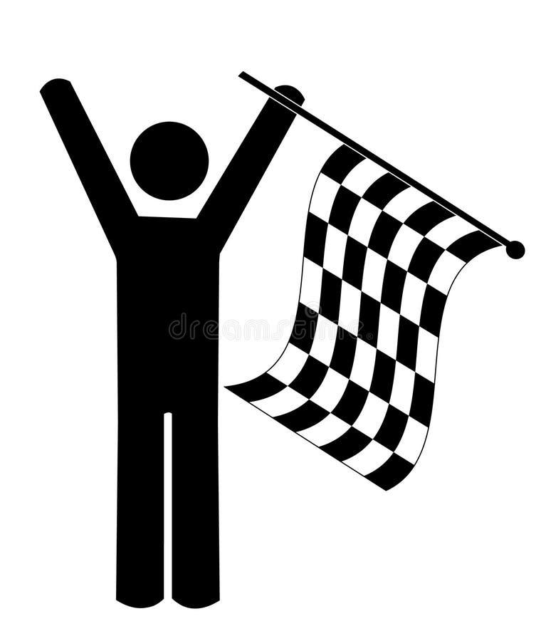 Bandierina checkered d'ondeggiamento della persona illustrazione vettoriale