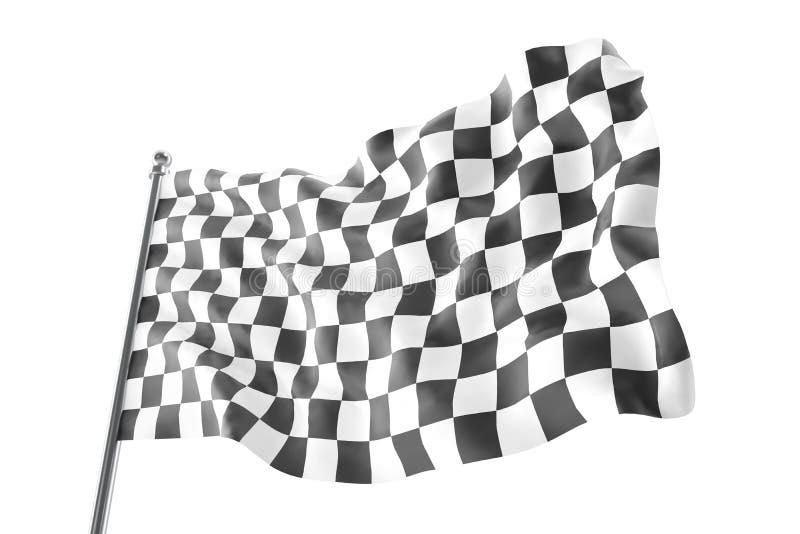 Bandierina Checkered della corsa Bandiera a quadretti di finitura, rappresentazione 3d isolata su fondo bianco illustrazione vettoriale
