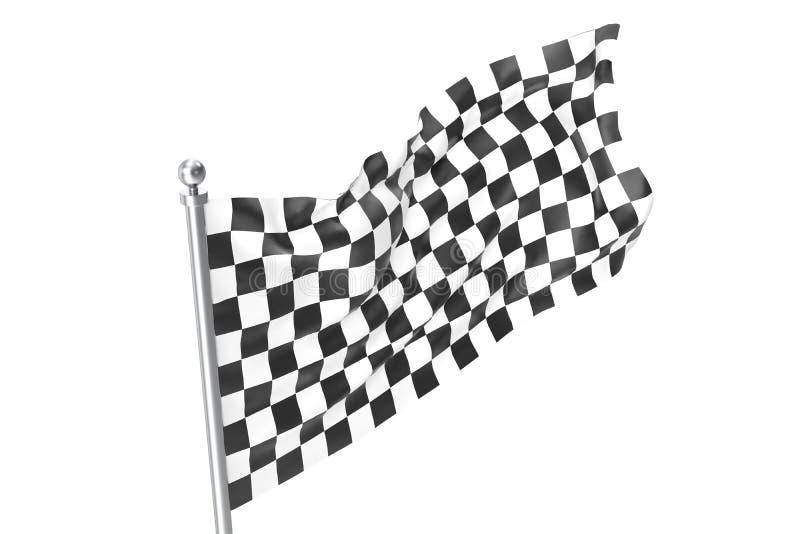 Bandierina Checkered della corsa Bandiera a quadretti di finitura, rappresentazione 3d isolata su fondo bianco illustrazione di stock