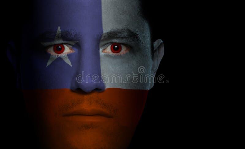 Bandierina cilena - fronte maschio immagini stock