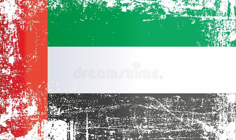 Bandierina degli Emirati Arabi Uniti Punti sporchi corrugati illustrazione di stock
