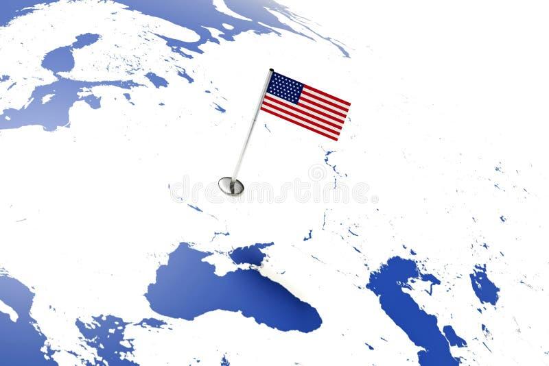 Bandierina degli S Bandiera di paese con l'asta della bandiera del cromo sulla mappa di mondo bandiera della rappresentazione del illustrazione di stock