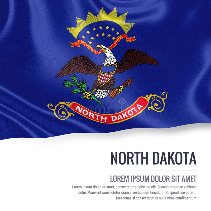 Bandierina degli S S indichi il Nord Dakota che ondeggia su un bianco isolato indietro royalty illustrazione gratis