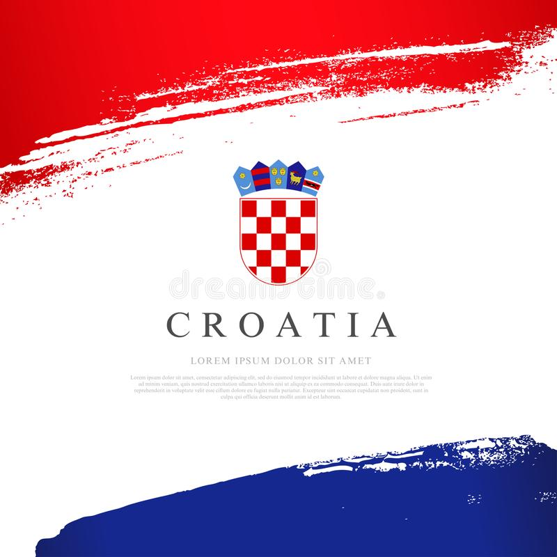 Bandierina del Croatia Illustrazione di vettore Colpi della spazzola Priorit? bassa del grunge di indipendenza Day royalty illustrazione gratis