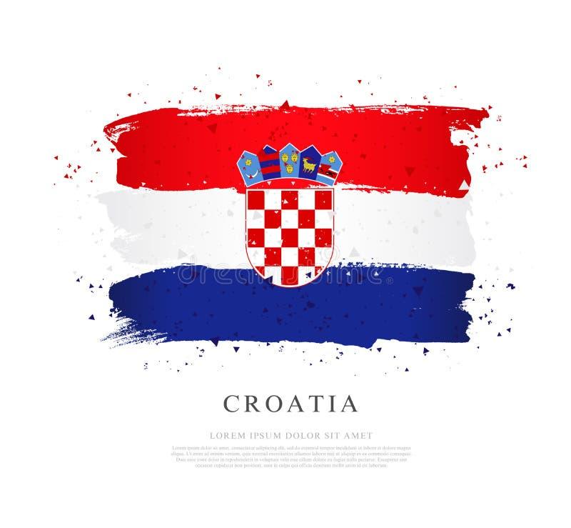 Bandierina del Croatia Illustrazione di vettore su priorit? bassa bianca Colpi della spazzola illustrazione vettoriale