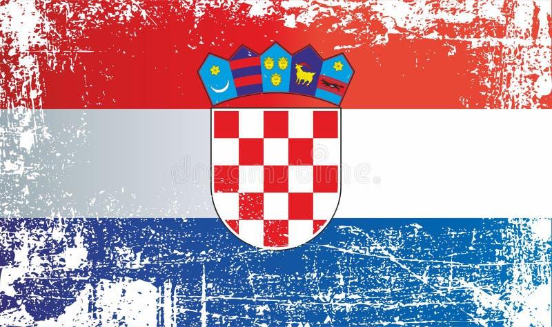 Bandierina del Croatia Punti sporchi corrugati illustrazione vettoriale