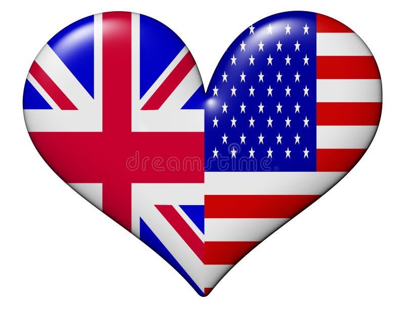 Bandierina del cuore degli S.U.A. e del Regno Unito illustrazione di stock