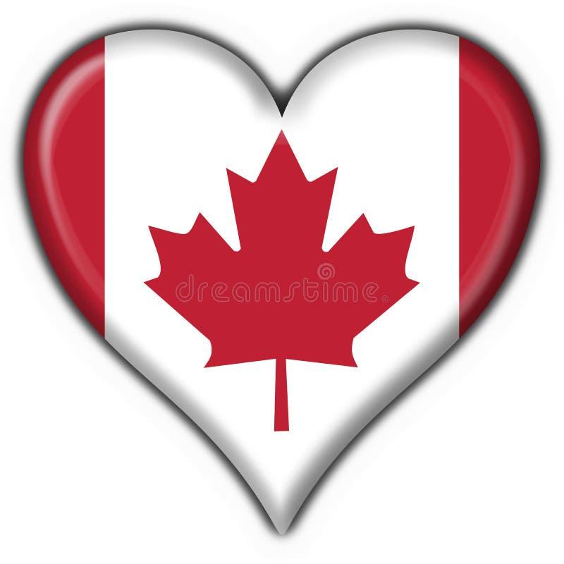 Bandierina del cuore del tasto del Canada illustrazione di stock