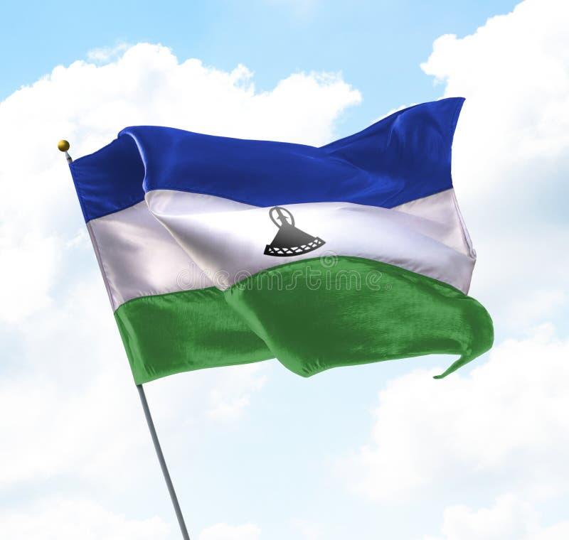 Bandierina del Lesoto fotografia stock libera da diritti