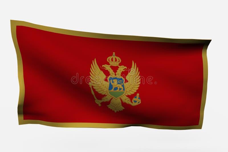 Bandierina del Montenegro 3d illustrazione di stock