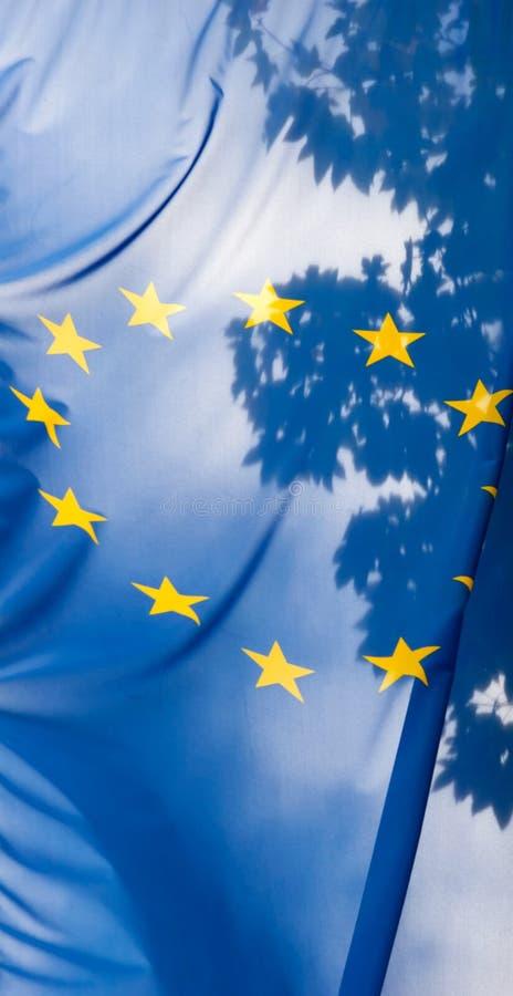 Bandierina del sindacato europeo contro il cielo ed i fogli immagine stock