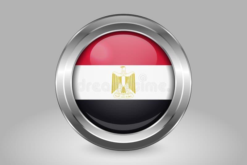 Bandierina dell'Egitto Metallo ed icona rotonda di vetro di vettore Isolato illustrazione di stock