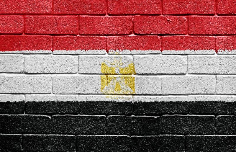 Bandierina dell'Egitto sul muro di mattoni immagine stock