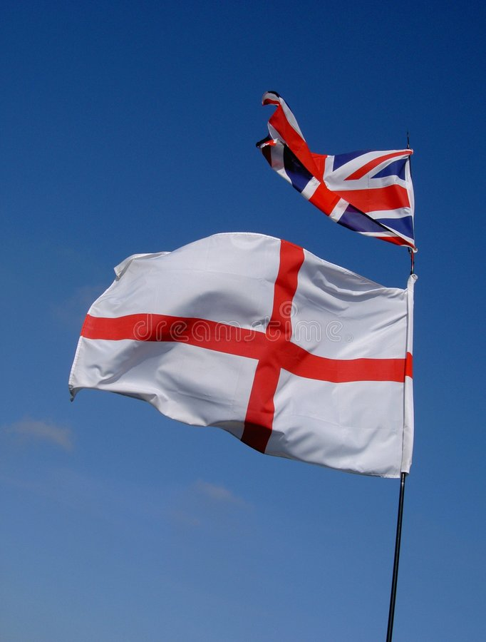 Bandierina dell'Inghilterra ed unione Jack immagine stock