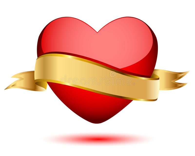 Bandierina dell'oro e del cuore illustrazione di stock