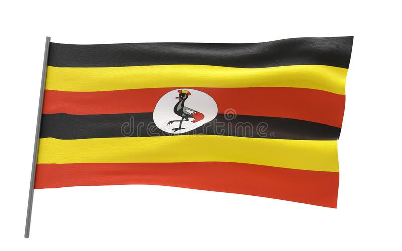 Bandierina dell'Uganda immagine stock libera da diritti