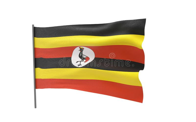 Bandierina dell'Uganda fotografie stock libere da diritti