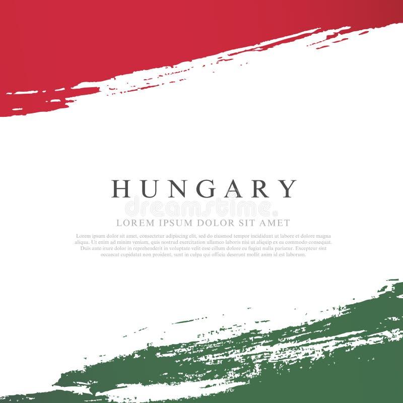 Bandierina dell'Ungheria I colpi della spazzola sono disegnati a mano Priorit? bassa del grunge di indipendenza Day illustrazione di stock