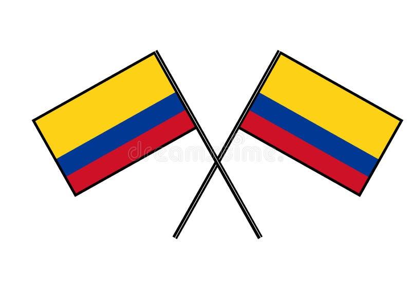 Bandierina della Colombia Stylization dell'insegna nazionale Illustrazione semplice di vettore con due bandiere illustrazione di stock