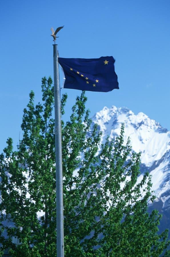 Bandierina della condizione dell'Alaska immagini stock libere da diritti