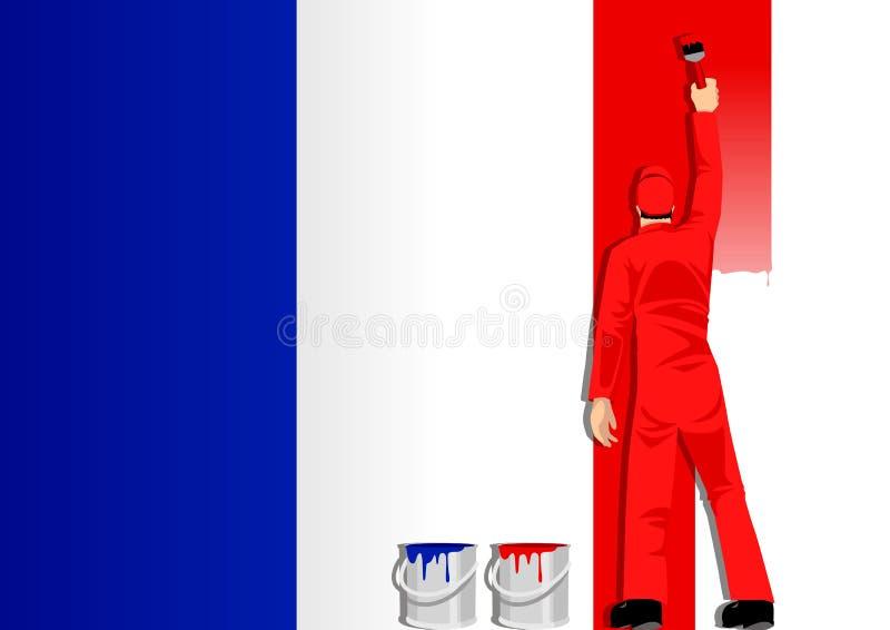 Bandierina della Francia della pittura illustrazione vettoriale