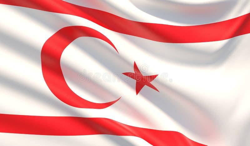 Bandierina della Repubblica turca della Cipro del Nord Struttura altamente dettagliata ondeggiata del tessuto illustrazione 3D illustrazione di stock